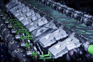 Artistic view of GE Jenbacher gas engine cylinders