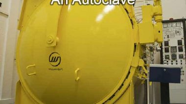 Image shows a small waste autoclave.