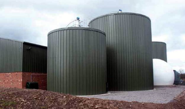 The AD plant digester tanks at Cove Road, Ludlow just after they were completed.