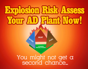 Graphic shows that Explosion risk assessment is importation to reduce the risk of an anaerobic digester plant explosion.