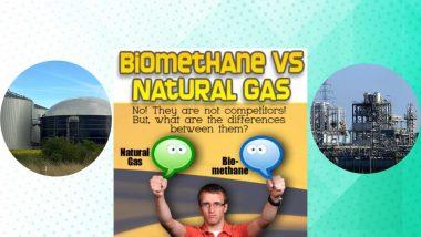 """Image text: """"Biomethane vs natural gas""""."""