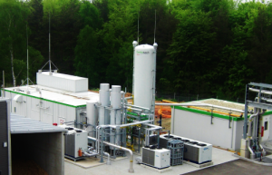 Picture shows Schmack biomethane production technology (2014).