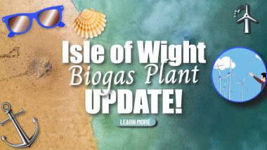 """Image shows the text: """"First IoW Biogas Plant - Update"""""""