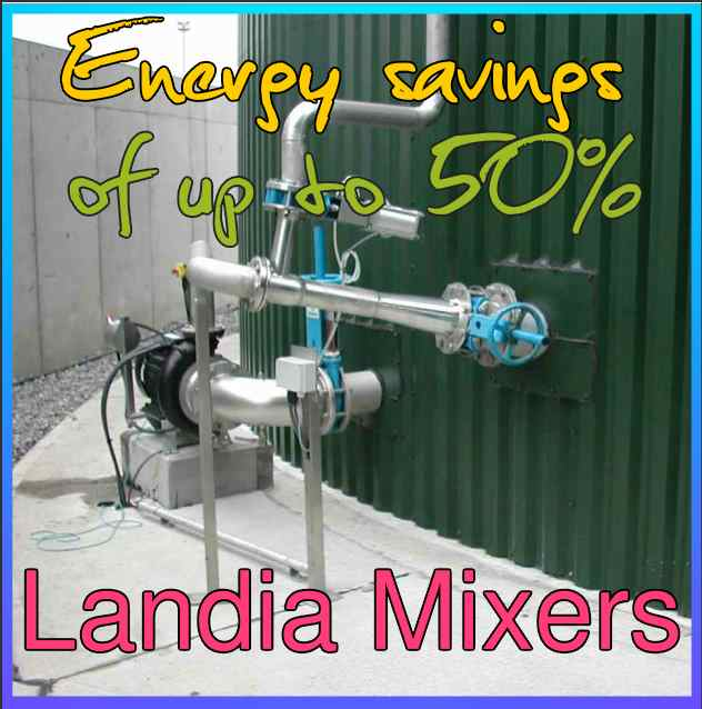 Image says that Landia biogas plant mixers save money
