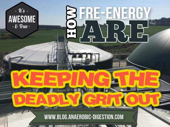 Image with text about the Fre-Energy biogas plant grit removal system