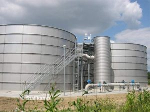 Image is an example of a Stallkamp's large stainless steel tanks for wastewater treatment.
