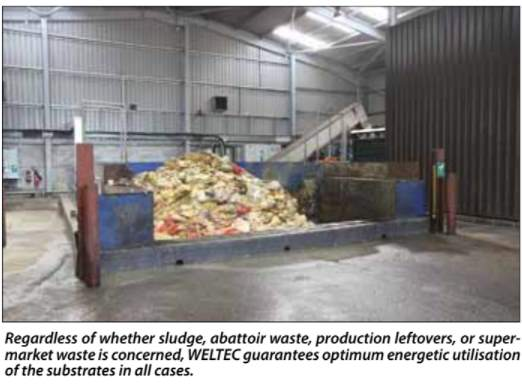Image shows Weltec PRS Burgebrach sewage sludge co-digestion materials bay., for biogas production from sewage sludge.