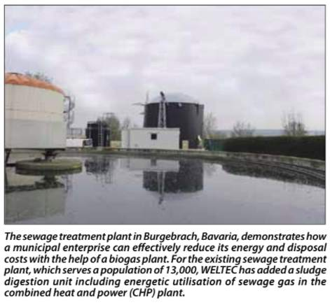 Image shows Weltec's project at which biogas production from sewage sludge is achieved.