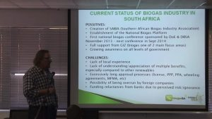 Illustration from lecture showing BiogasSA biogas status in South Africa.