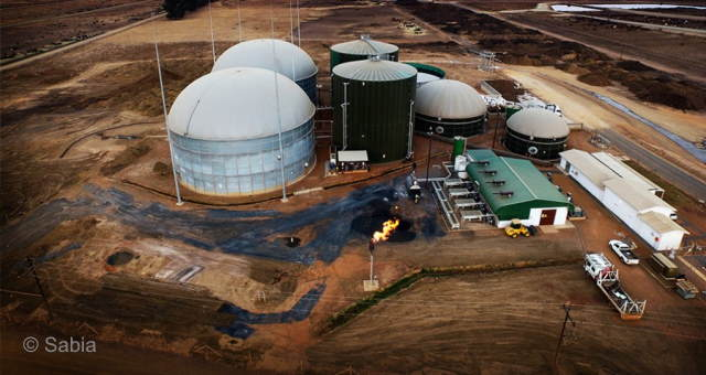Anaerobic Digestion in South Africa illustrated by image showing a biogas plant.