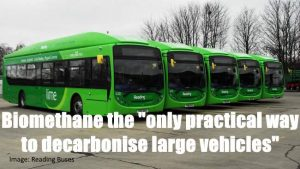 An-advantage of biogas (biomethane) is shown here in the form of the biogas buses of Reading, UK.