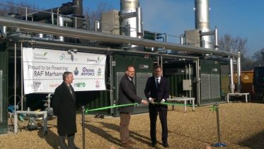 Image of Tobias Ellwood at Future Biogas cutting the tape to open the UK AD Plant which will supply green biogas power to the RAF