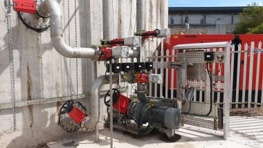 Image shows the Landia GasMix pump and valve arrangement on the side of the Nigg sewage sludge digestion tank.