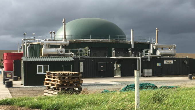 Image shows A commercial on-farm anaerobic digester for biogas production etc.