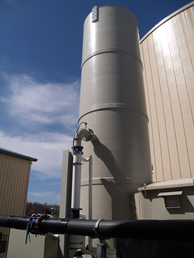 Image shows a biogas scrubber.