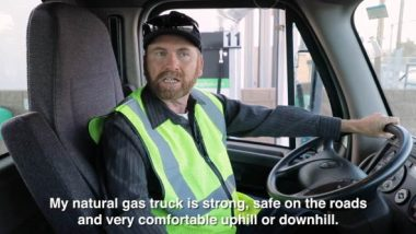 Truck driver in cab tells why he likes RNG HGV fuel.