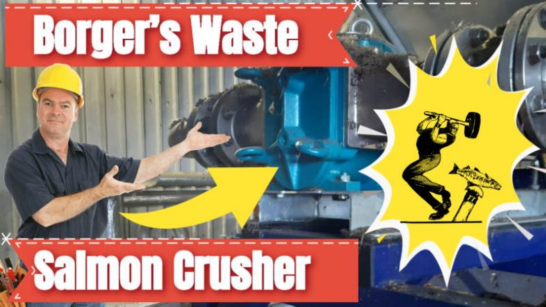 Image shows a man identifying the Borger salmon crusher.