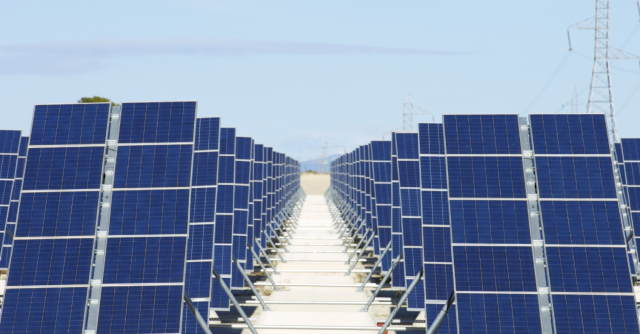 "Image illustrates solar panels for the articles on ""Is Coal Cheaper than Renewable Energy""?"