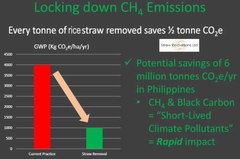 Rice straw biogas diagram showing the CO2 reduction possible.