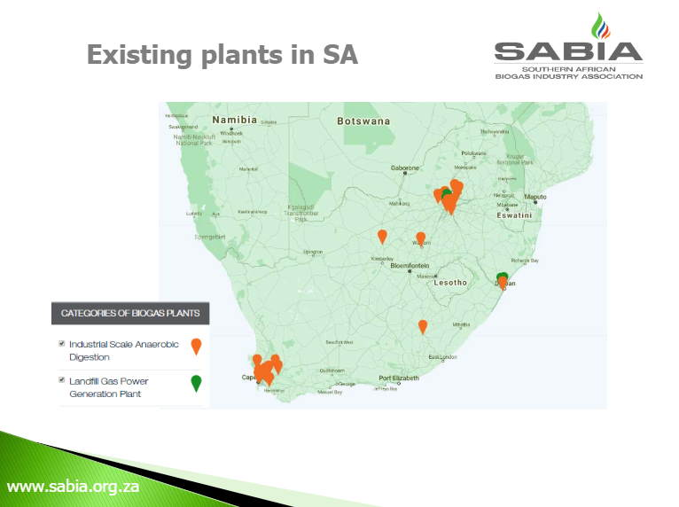 Sabia Map of existing biogas plants in South Africa.