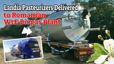 "Featured image with text: ""Landia pasteurizers for Romania""."