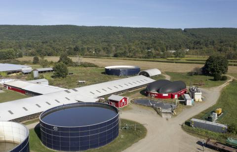 Food waste anaerobic digestion on a farm.