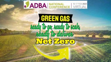 "Featured image text: ""ADBA National Conference Virtual February 2021 Green Recovery, Green Gas, Net-Zero""."