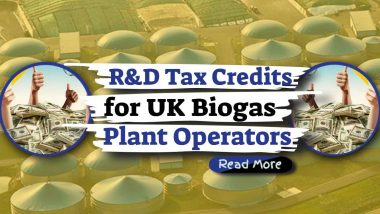 "Featured image text: ""R&D Tax Credits UK Biogas""."