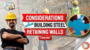 """Image text: """"Considerations when Building Steel Retaining Walls""""."""