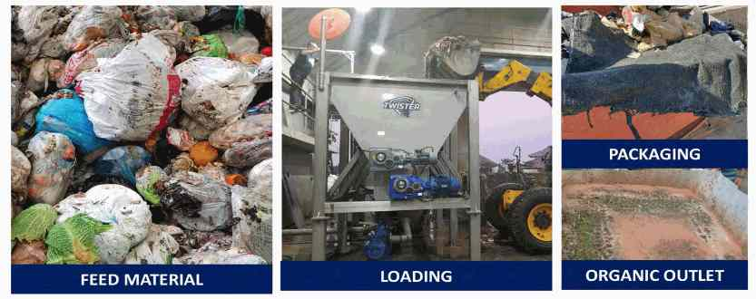 Twister food waste separation before and after.