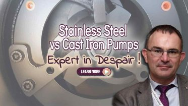 """Image text: """"stainless steel vs cast iron pumps""""."""